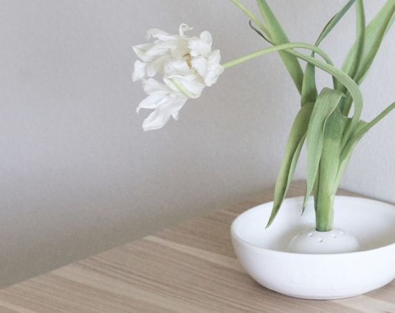Ikebana bowl, ceramic vase, vase, white vase, shallow vase, farmhouse decor, hand thrown bowl, hand thrown vase