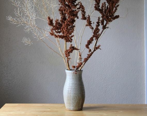 vase, large vase, rustic vase, farmhouse vase, pottery vase, white speckled vase, white vase, mid century modern vase, hand thrown vase