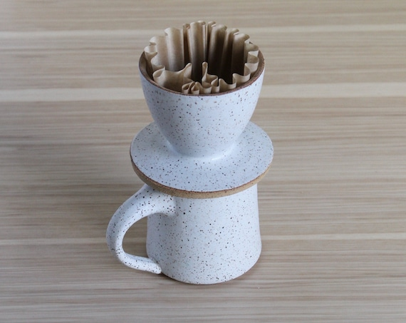 SET: Mug + Coffee Pour Over, coffee dripper, coffee pour over, pour over coffee, coffee filter, coffee lovers gift, ceramic pour over