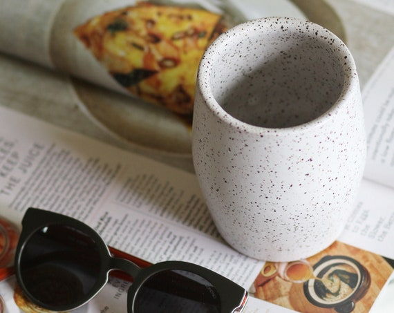 ceramic cup, ceramic tumbler, tea cup, white tea cup, wine tumbler, coffee tumbler, speckled white drinkware, ceramic cup