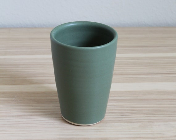 Olive Green Flared Tumbler, Ceramic Cup, Tumbler, Pottery tumbler, ceramic tumbler