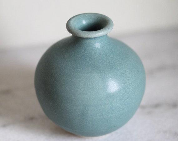 bud vase, weed vase, small vase, Bluegreen vase, mini vase, rustic vase, mid century modern inspired vase, blue vase, hand thrown vase