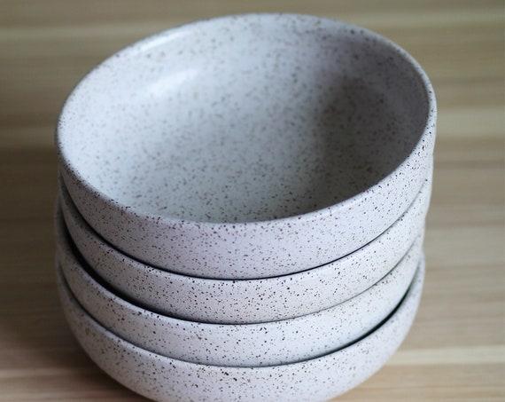 SET OF FOUR speckled white bowls, rustic bowl, handmade bowl, pottery bowl, salad bowl, pasta bowl, white bowl