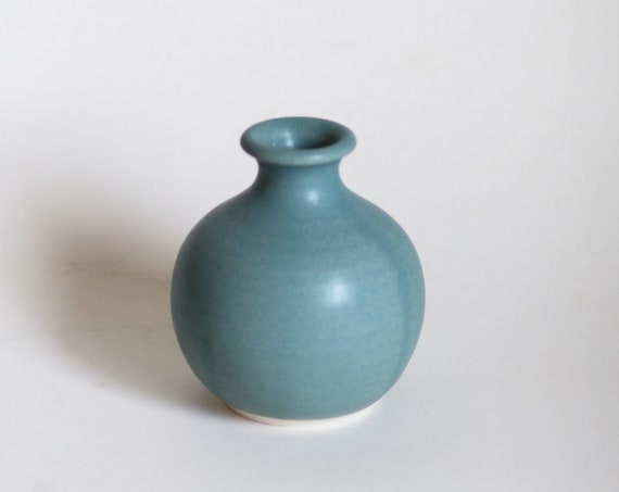 mini vase, small vase, bud vase, weed vase, Bluegreen vase, blue vase, midcentury modern vase, hand thrown vase, handmade vase