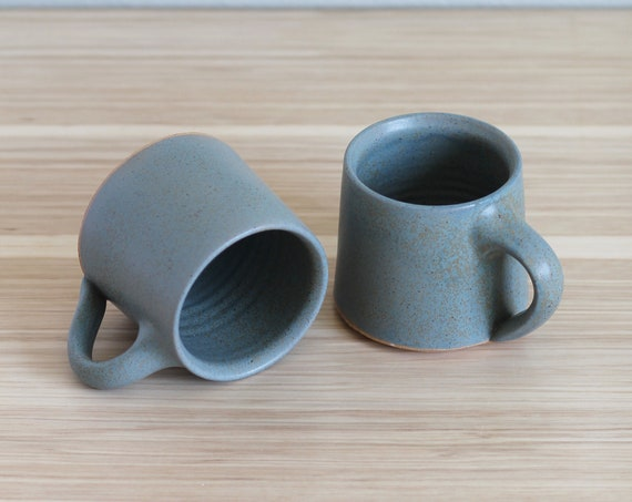 SET OF 2 Turquoise mugs, turquoise mug, hand thrown mug, handmade mug, coffee mug, tea mug, ceramic mug, pottery mug