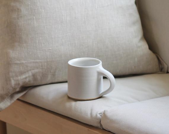 White mug, ceramic mug, hand thrown mug, handmade mug, coffee mug, tea mug, ceramic mug, pottery mug