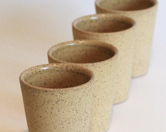 SET OF 4 ceramic tumblers, clay tumbler, white tumbler, bohemian drink ware, rustic tumbler, rustic drink ware,