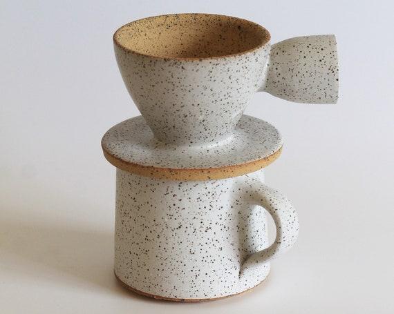 Coffee Pour over & Mug set, Ceramic Pour Over, Coffee Dripper, Coffee Maker, Coffee Lover Gift, mug, ceramic mug, white mug, hand thrown mug