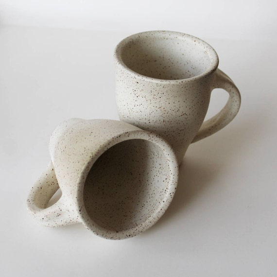 Set of 2 White Ceramic Mugs, speckled white mug, coffee mug, coffee cup, tea cup, handmade ceramic mug, rustic mug