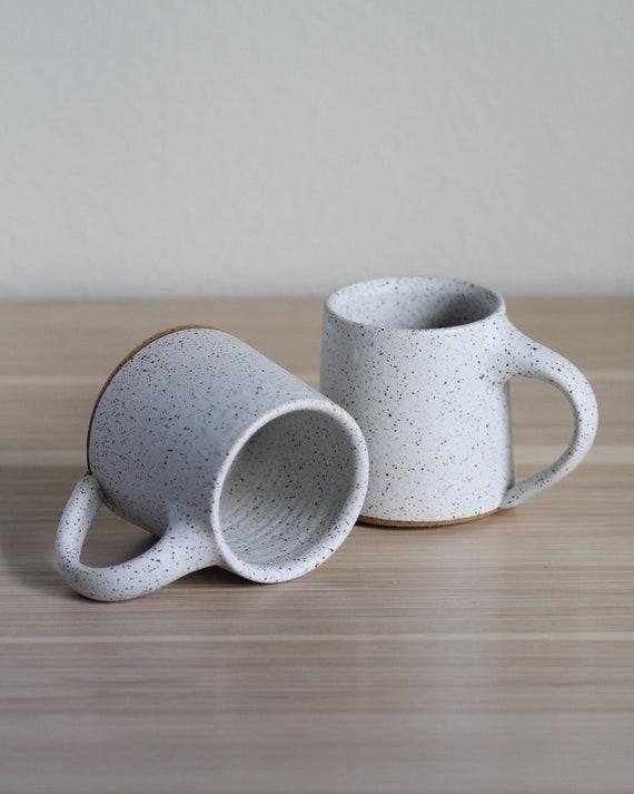 SET OF 2 Tall Speckled White Mugs, ceramic mug, coffee mug, tea mug, handmade mug, hand thrown mug, white coffee mug, white mug, rustic mug