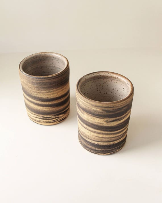 Set of 2 Marbled Ceramic Tumblers, Marbled Ceramic Mug, Ceramic Cup, Coffee cup, Tea Cup, Japanese Tea Cup