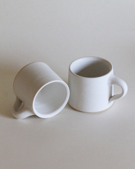SET OF 2 White mugs, coffee mug, matte white mug, ceramic mug, handmade mug, tea mug, white mug