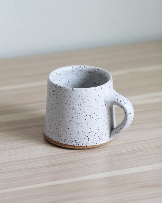 ceramic mug, coffee mug, tea mug, handmade mug, hand thrown mug, white coffee mug, white mug, rustic mug, speckled white mug