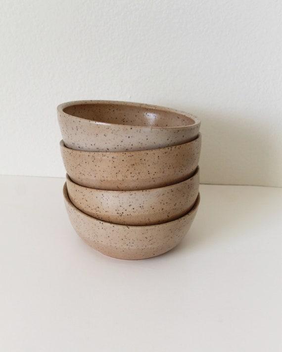 tan cereal bowl, cereal bowl, bowl, rustic bowl, ceramic bowl, pottery bowl, small bowl, speckled bowl