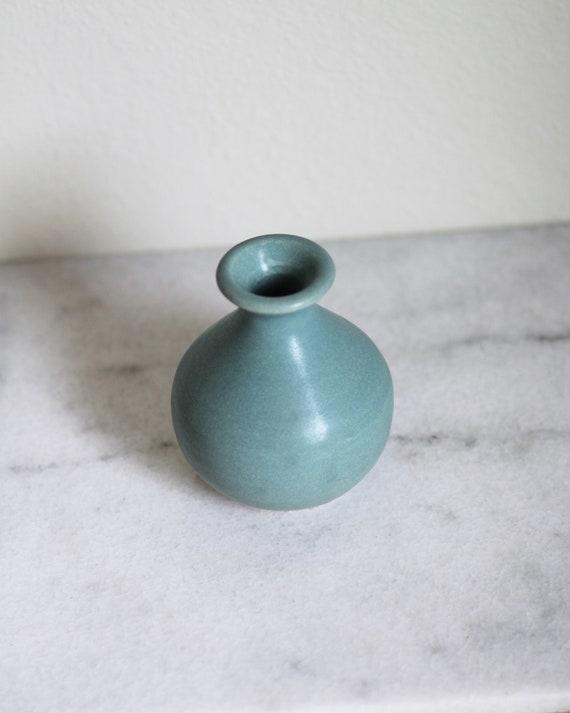 mini vase, small vase, blue vase, bud vase, weed vase, hand thrown vase, midcentury modern vase, Bluegreen vase