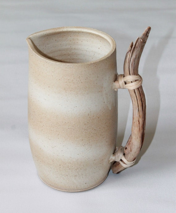 ceramic pitcher, white ceramic pitcher, ceramic vase, water pitcher, carafe, ceramic carafe, rustic pitcher