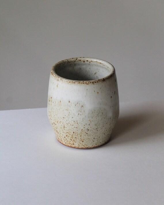 ceramic tumbler, speckled white tumbler, white tumbler, bohemian drink ware, rustic tumbler, rustic drink ware,
