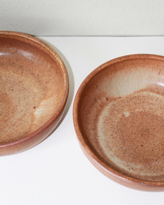 SET OF 2 brown bowls, rustic bowl, handmade bowl, pottery bowl, salad bowl, pasta bowl, tan bowl