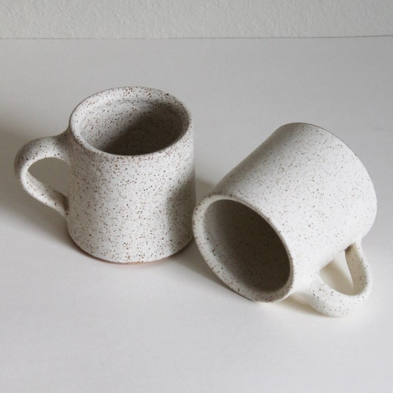 SET OF 2 16oz white mugs, ceramic mug, coffee mug, tea mug, handmade mug, hand thrown mug, white coffee mug, white mug, rustic mug