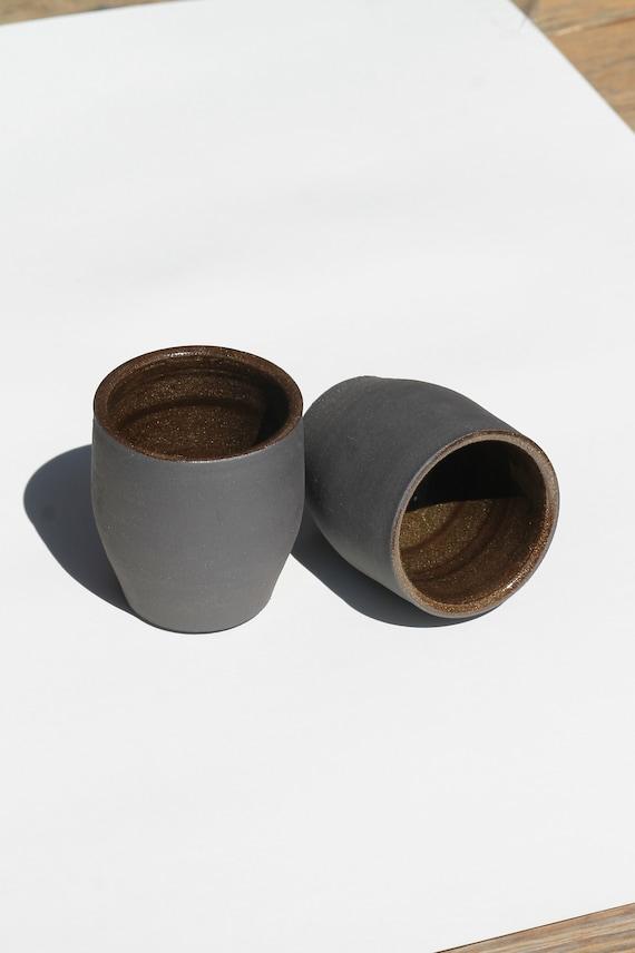 Set of two tumblers, ceramic drink ware, black ceramic tumbler