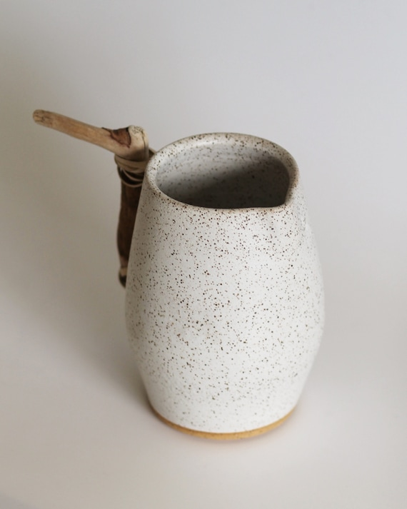 vase, large vase, rustic vase, pottery vase, white speckled vase, white vase, hand thrown vase, wood handled vase