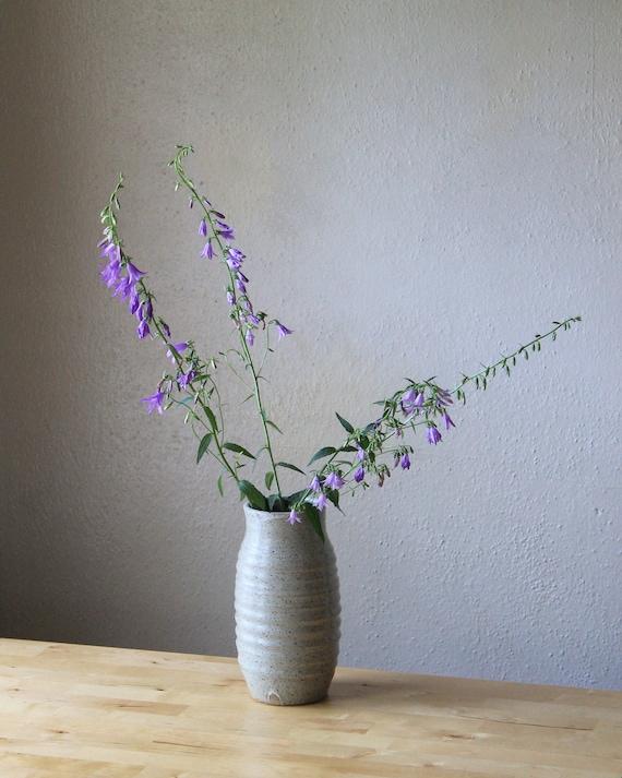 vase, rustic vase, pottery vase, tall vase, white vase, speckled white vase, large vase, hand thrown vase