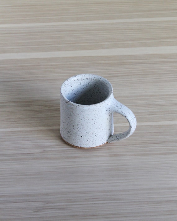 Speckled White Ceramic Mug, coffee mug, tea mug, handmade mug, hand thrown mug, white mug, rustic mug, speckled white mug