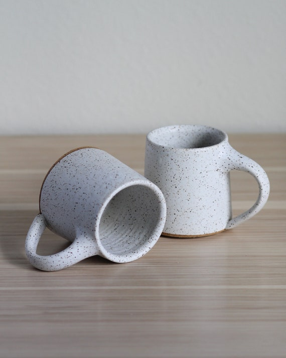 SET OF TWO Speckled White Mugs