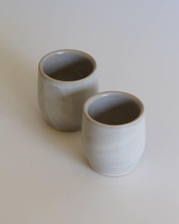 ceramic cup, ceramic tumbler, white speckled tumbler, tea cup, white tea cup, wine tumbler