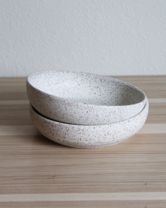 "SET OF TWO heavily speckled 7.75"" bowls, low bowl, speckled white bowl, pottery bowl, salad bowl, pasta bowl, ceramic bowl, hand thrown bowl"