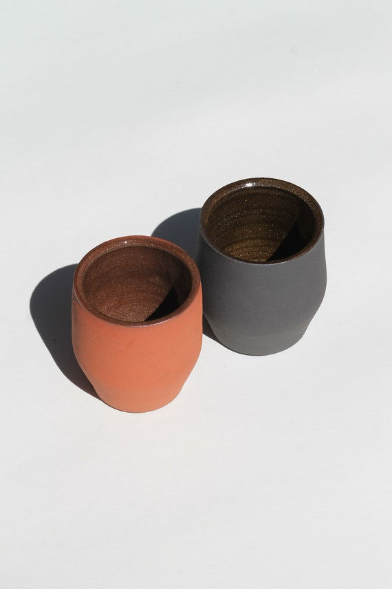 Set of 2 raw clay tumblers, raw clay drink ware, ceramic drink ware, ceramic tumbler