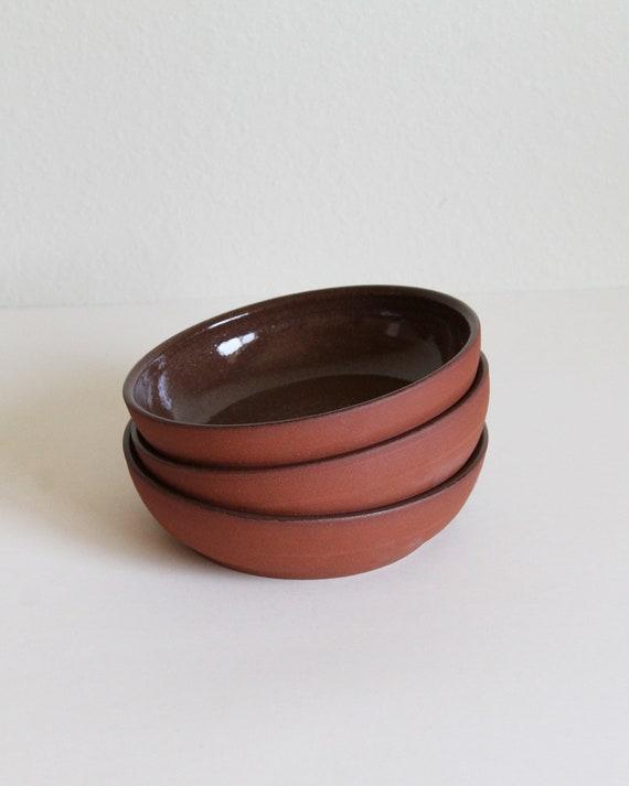 red clay bowl, rustic bowl, pasta bowl, handmade bowl, hand thrown bowl, pottery bowl, dinner bowl, folk pottery bowl