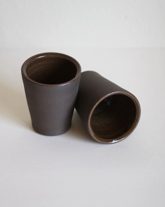 SET OF TWO black tumblers, tumbler, ceramic tumbler, ceramic cup