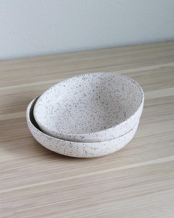 SET OF TWO Speckled Dune Bowls, rustic bowl, handmade bowl, pottery bowl, salad bowl, pasta bowl, white bowl