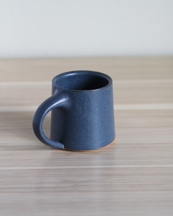 Matte Blue Mug, coffee mug, tea mug, handmade mug, hand thrown mug, blue coffee mug, white mug, rustic mug, speckled white mug