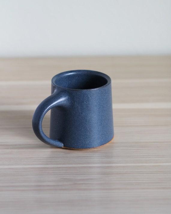 Matte Blue Mug, coffee mug, tea mug, handmade mug, hand thrown mug, blue coffee mug, white mug, rustic mug, speckled white mug