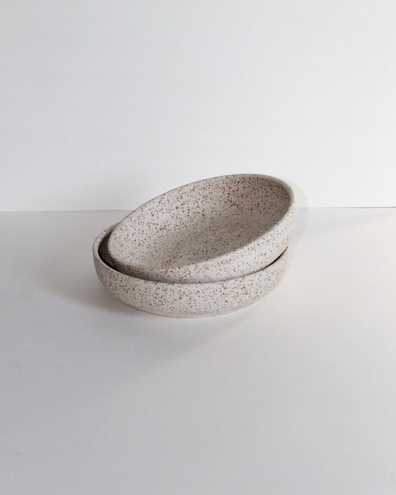 """SET OF TWO heavily speckled 8"""" bowls"""