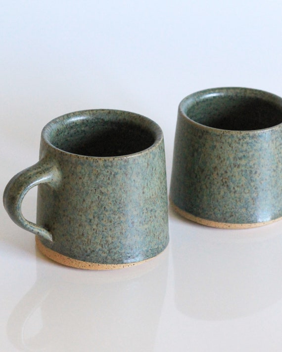SET OF 2 ceramic mugs, coffee mug, tea mug, handmade mug, hand thrown mug, green coffee mug, green mug, rustic mug, farmhouse mug