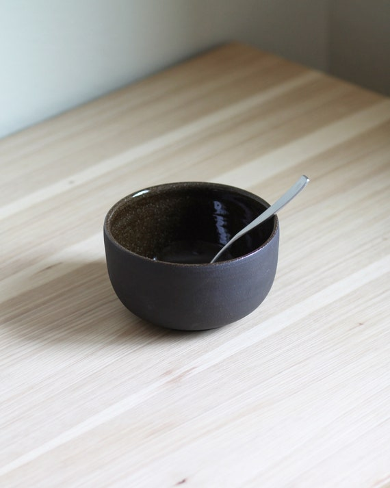Black Clay Bowl, rustic bowl, handmade bowl, pottery bowl, salad bowl, pasta bowl, small bowl, cereal bowl
