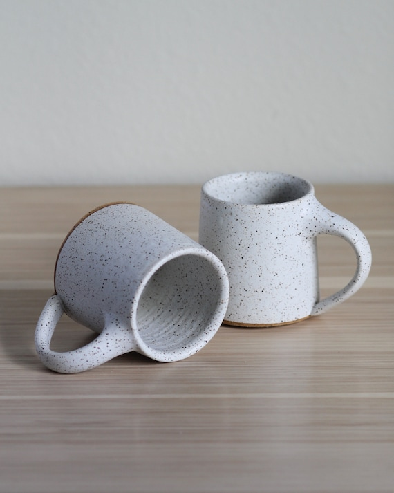 SET OF 2 Speckled White Mugs, ceramic mug, coffee mug, tea mug, handmade mug, hand thrown mug, white coffee mug, white mug, rustic mug