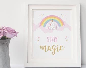 Unicorn gift, Unicorn wall art PRINTABLE, Kids wall art, Unicorn Nursery wall art, Kids bedroom decor, Baby shower gift, Unicorn decor magic