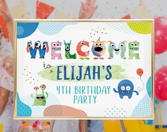 Little Monster Welcome Sign PRINTABLE Boy Birthday 3rd Party 2nd Printable Personalised Poster 4th