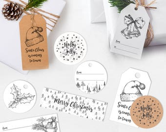 black and white christmas gift tags printable gift tags simple christmas tags modern xmas gift tags christmas printables christmas decor - Decorative Christmas Gift Tags