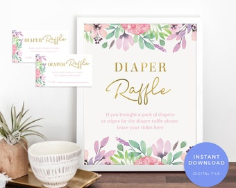 floral nappy raffle ticket printable baby shower nappy raffle etsy