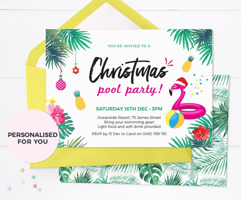 image relating to Printable Christmas Party Invitations named Summertime Xmas Celebration invites Printable, Xmas Pool celebration invites, Tropical Xmas Invites Aussie Xmas get together invite