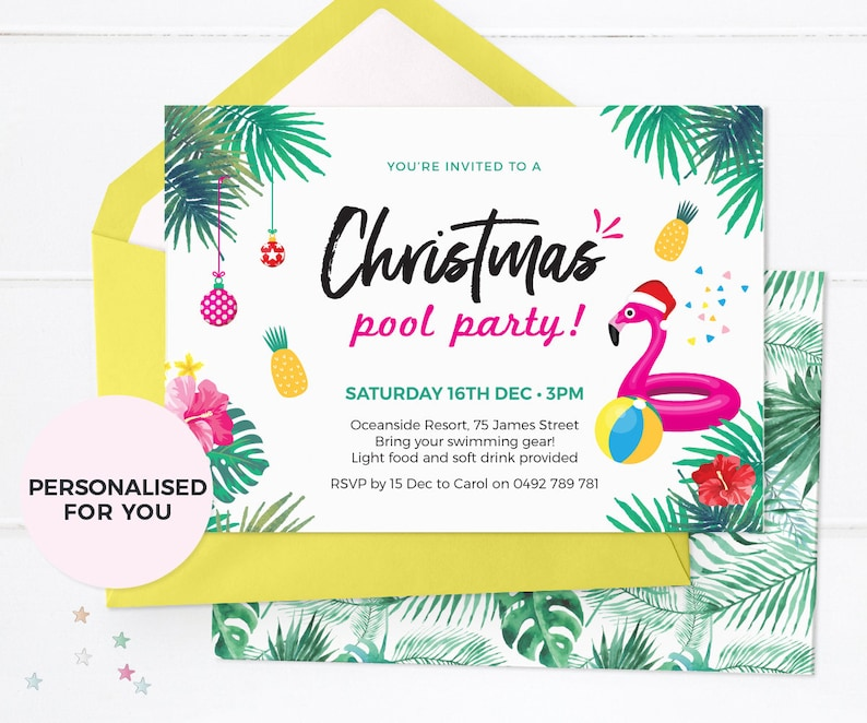 photograph relating to Printable Christmas Party Invitations named Summer season Xmas Get together invites Printable, Xmas Pool celebration invites, Tropical Xmas Invites Aussie Xmas get together invite
