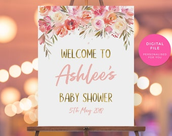 Pink Peach Bridal shower welcome sign, PRINTABLE Floral Baby shower sign, Vintage hens party sign bachelorette kitchen tea welcome sign,