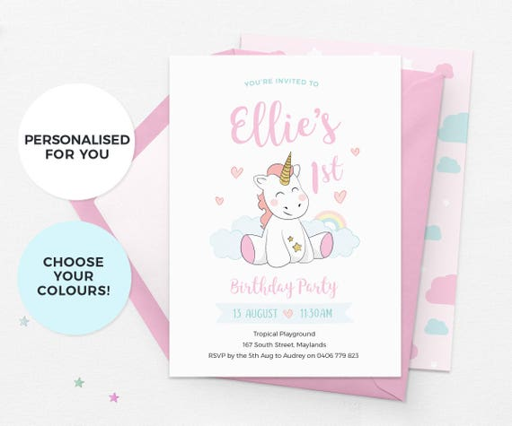 Unicorn Invitations Birthday 1st