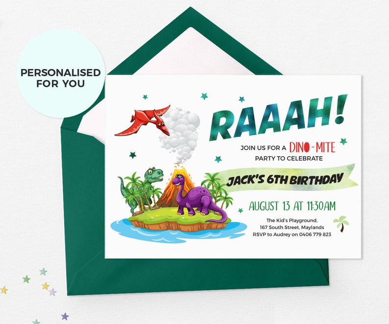Dinosaur Invitations Printable Birthday Digital Party Custom Invites Volcano