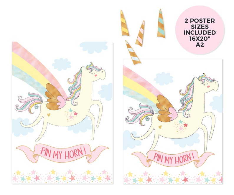 Unicorn party games, Printable Pin the horn on the unicorn game pdf,  Unicorn horn, Kids party games, Unicorn birthday games, Unicorn poster